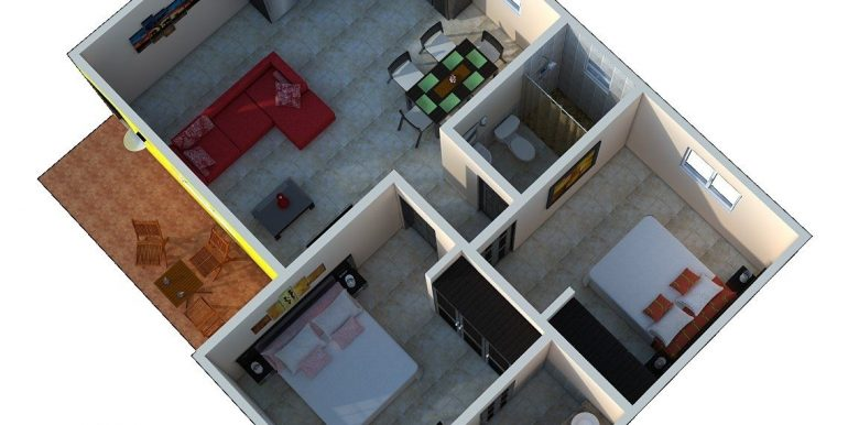 Los Escadas 2 Bedroom Condo Floor Plan